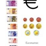 poster met eurobiljetten en euromunten