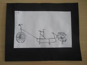 fiets tekenen met oost-indische inkt