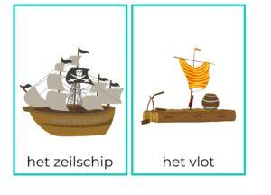 woordkaarten piraten met lidwoord