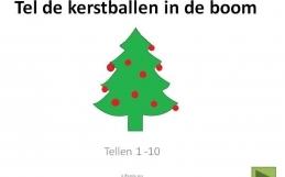 Digibordles:  Tel de kerstballen in de boom