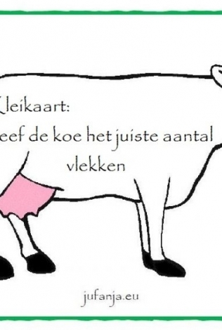 Kleikaart:   geef de koe een aantal vlekken
