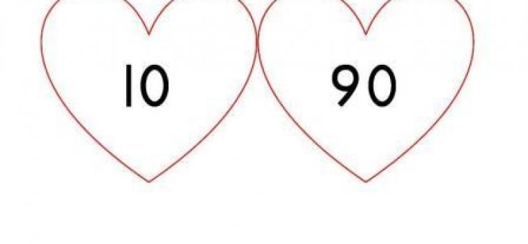 Splitsen:   verliefde harten met tientallen